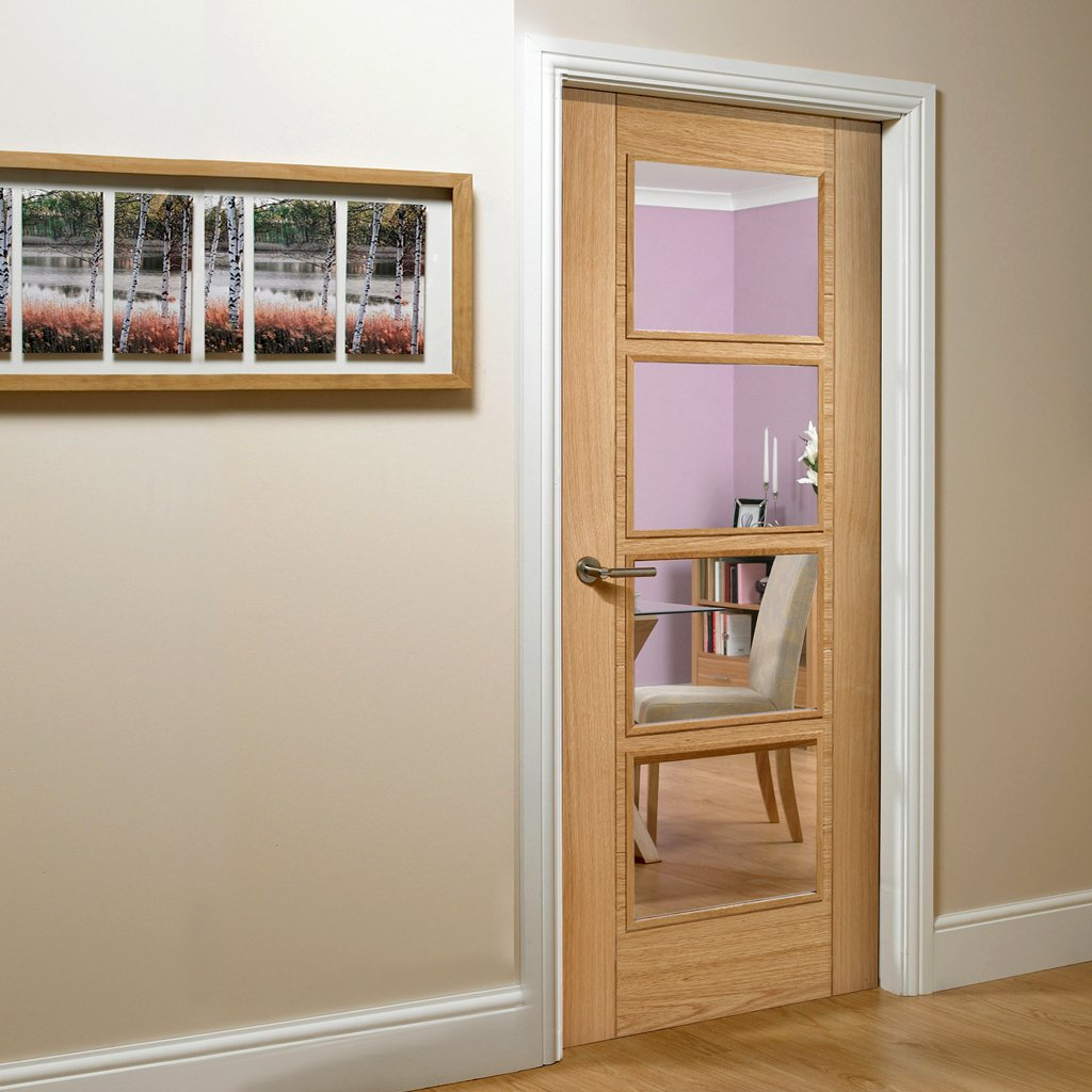 vancouver oak 4l door clear safety glass prefinished 1006 style