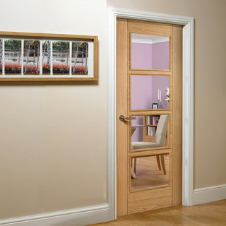 Image: vancouver oak 4l door clear safety glass prefinished 1006 style