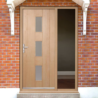Image: Copenhagen Oak Door with Frosted Double Glazing and Frame Set with One Unglazed Side Screen