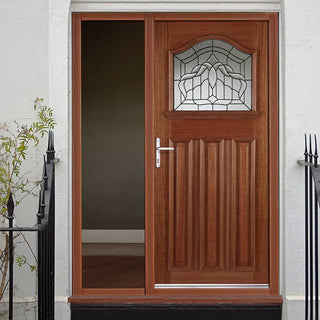 Image: Estate Crown Hardwood Door with Lead Caming Double Glazing and Frame Set with One Unglazed Side Screen