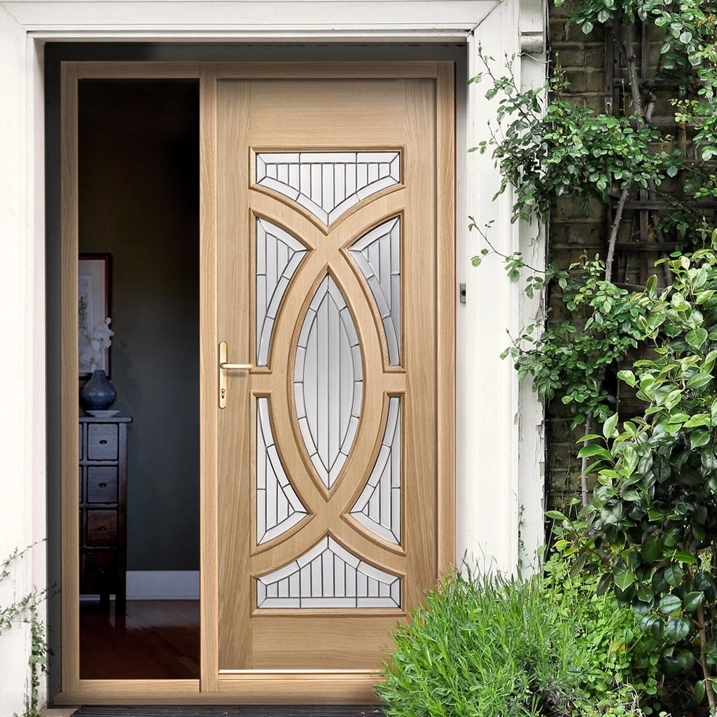 Majestic Oak Door and Frame Set - Zinc Double Glazing - One Unglazed Side Screen, From LPD Joinery