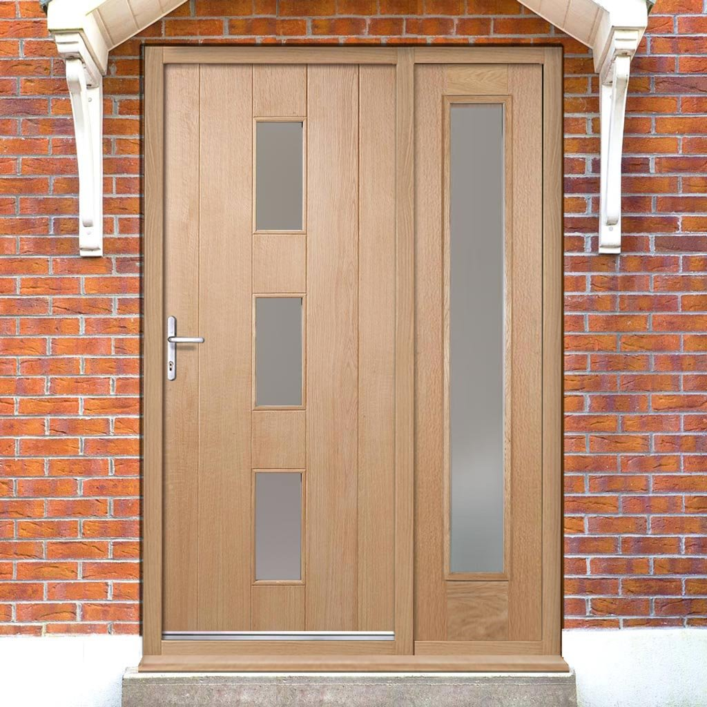 Copenhagen Exterior Oak Door and Frame Set with One Side Screen and Frosted Double Glazing