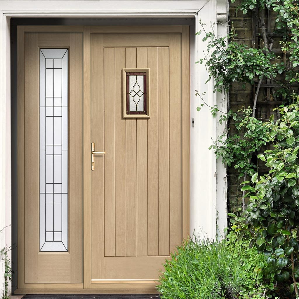 Chancery Onyx External Oak Door and Frame - One Side Screen - Bevelled style Tri Glazed