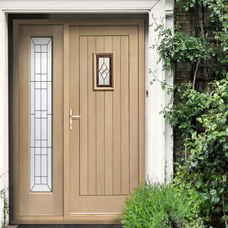 Image: Chancery Onyx External Oak Door and Frame - One Side Screen - Bevelled style Tri Glazed