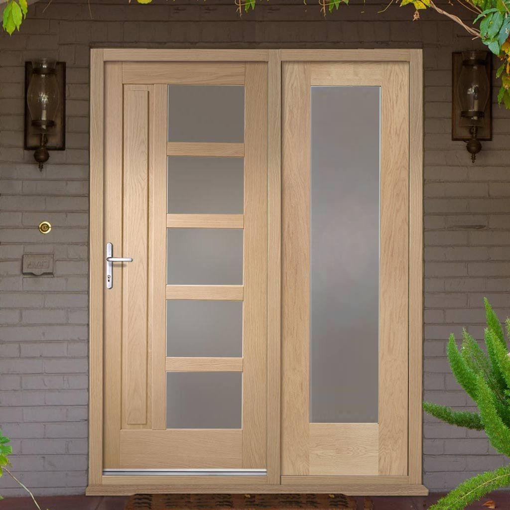 Lucca Exterior Oak Door and Frame Set - One Side Screen - Frosted Double Glazing
