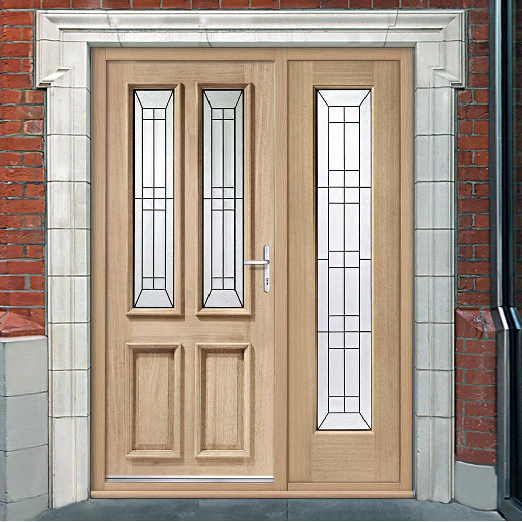 Malton Oak Door and Frame - One Side Screen - Black Caming Tri Glazing
