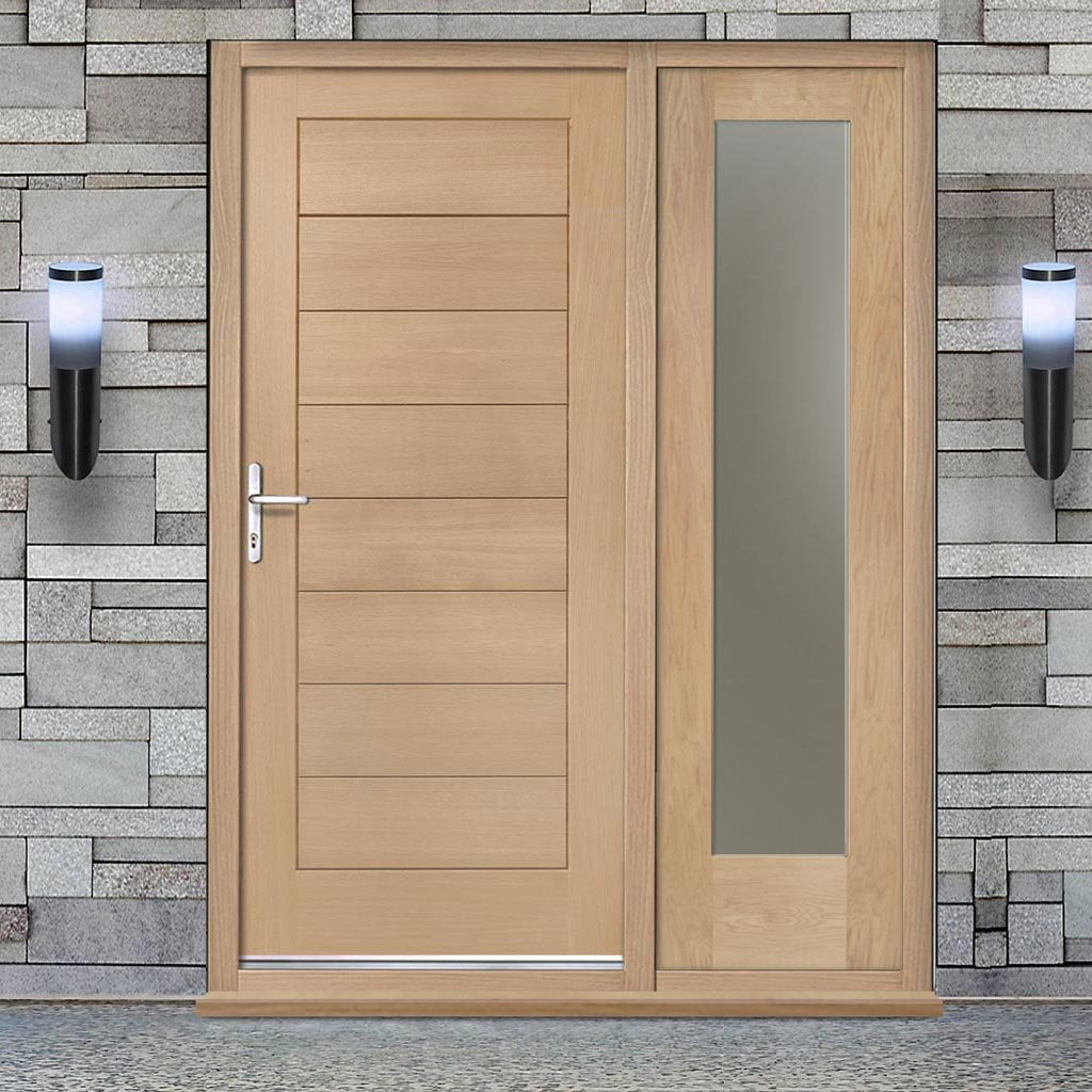 Modena Exterior Flush Oak Door and Frame Set - One Side Screen - Frosted Double Glazing