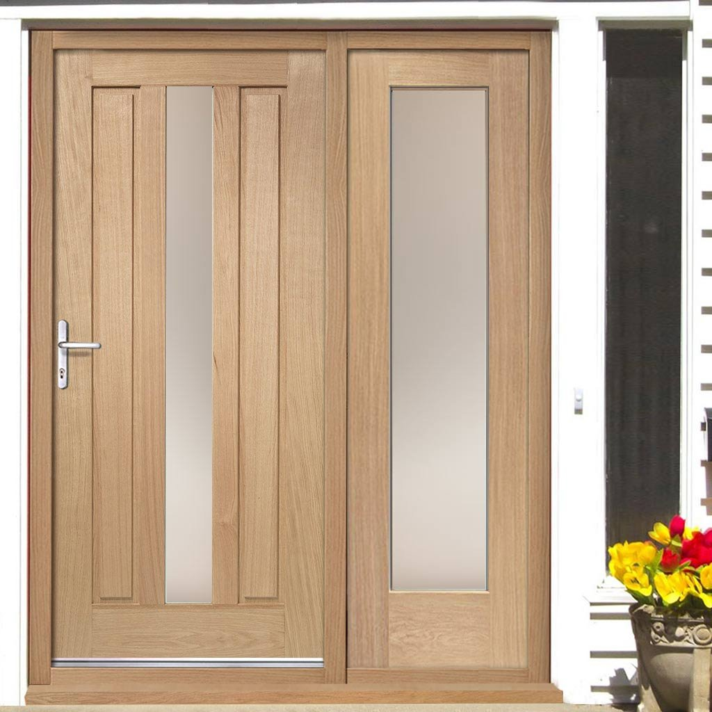 Padova Exterior Oak Door and Frame Set - One Side Screen - Frosted Double Glazing