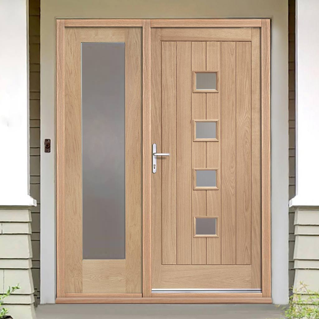 Siena Exterior Oak Door and Frame Set - One Side Screen - Frosted Double Glazing