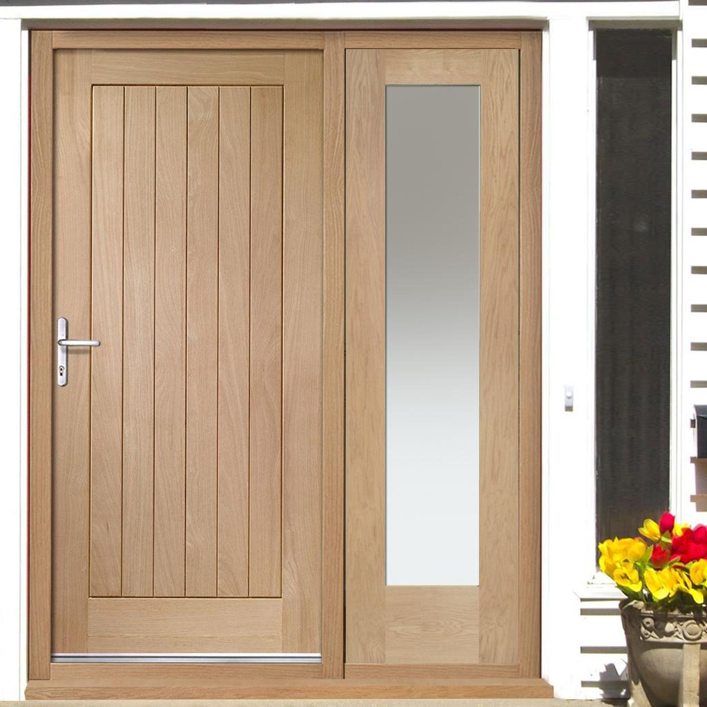 Suffolk Exterior Flush Oak Door and Frame Set - One Side Screen - Frosted Double Glazing