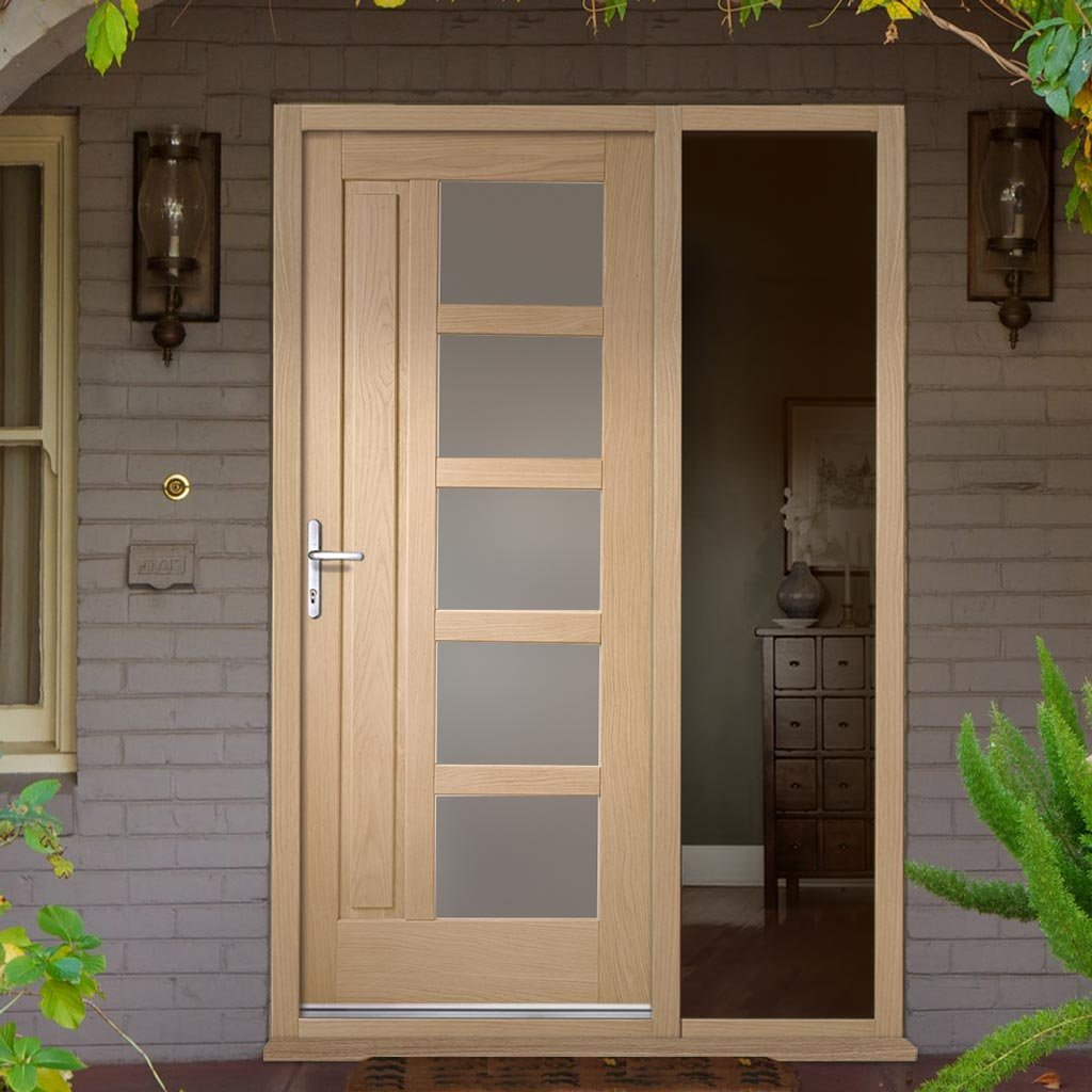 Lucca Oak Door - Frosted Double Glazing and Frame Set - One Unglazed Side Screen