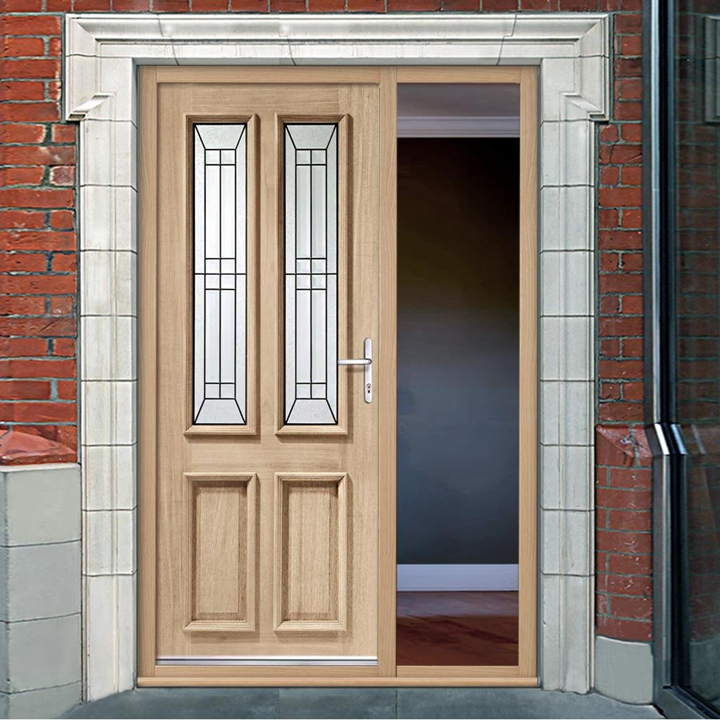 Malton Oak Door - Black Caming Tri Glazing and Frame - One Unglazed Side Screen