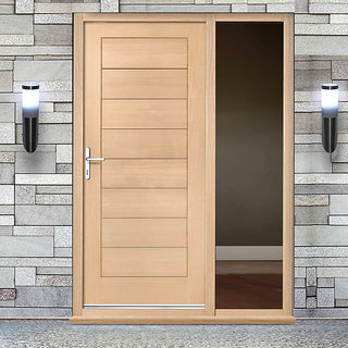 Image: Modena Flush Oak Door and Frame Set with One Unglazed Side Screen