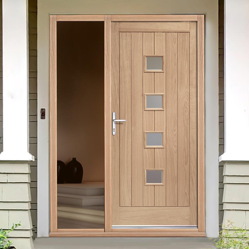 Siena Oak Door - Frosted Double Glazing and Frame Set - One Unglazed Side Screen