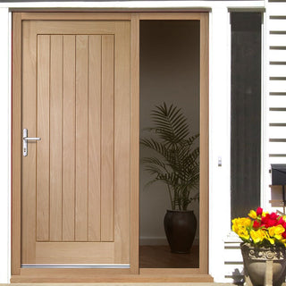 Image: Suffolk Flush Oak Door and Frame Set with One Unglazed Side Screen