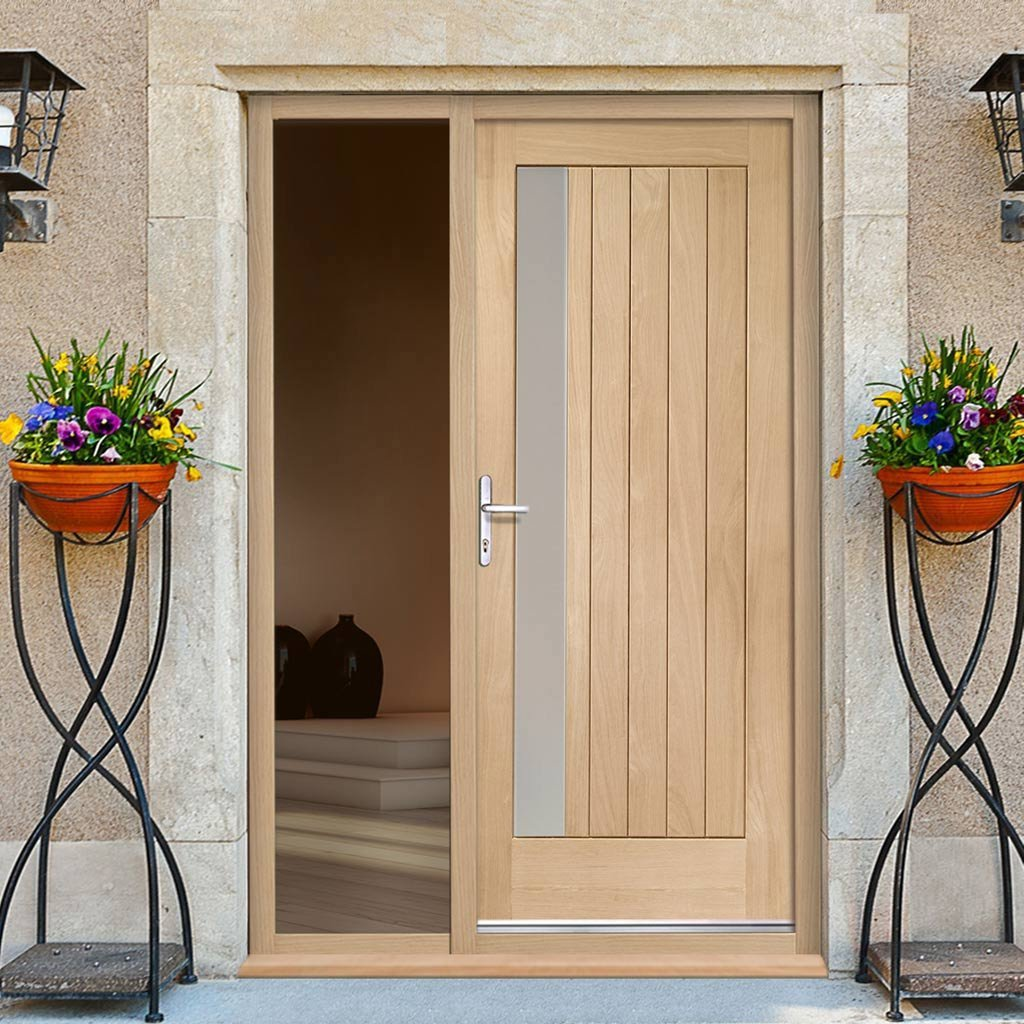 Trieste Oak Door - Frosted Double Glazing and Frame Set - One Unglazed Side Screen