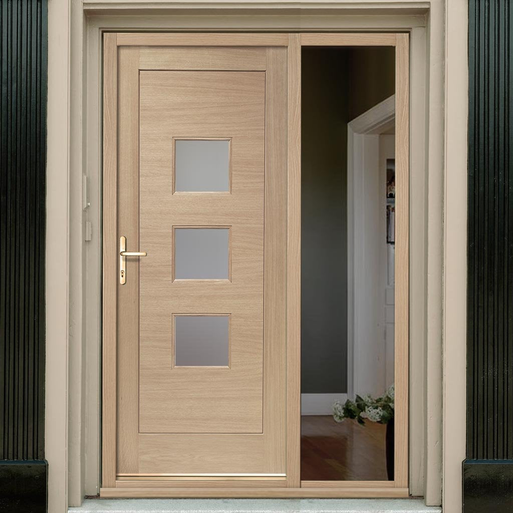 Turin Oak Door - Frosted Double Glazing and Frame Set - One Unglazed Side Screen