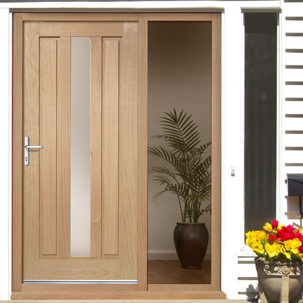 Padova Oak Door - Frosted Double Glazing and Frame Set - One Unglazed Side Screen