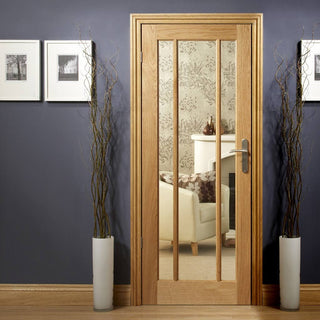 Image: Worcester Oak 3 Pane Fire Door - Clear Glass - 1/2 Hour Fire Rated