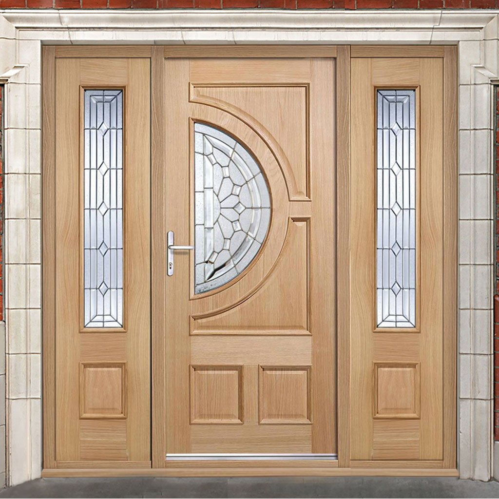 Empress Exterior Oak Door and Frame Set - Zinc Double Glazing - Two Side Screens, From LPD Joinery
