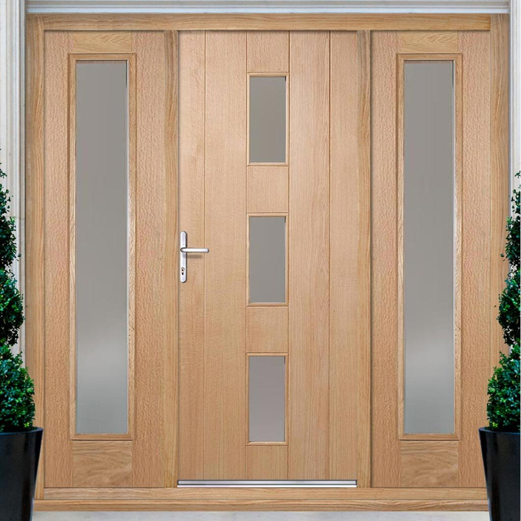 Copenhagen Exterior Oak Door and Frame Set - Frosted Double Glazing - Two Side Screens