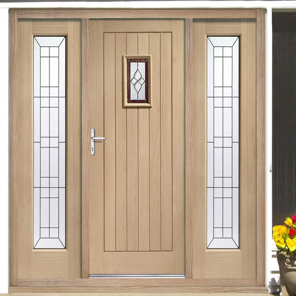 Chancery Onyx External Oak Door and Frame - Two Side Screens and Bevelled style Tri Glazed