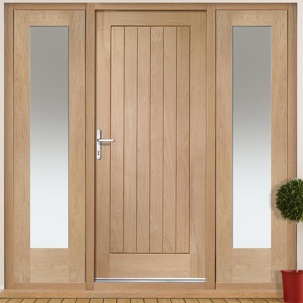 Suffolk Exterior Flush Oak Door and Frame Set - Two Side Screens - Frosted Double Glazing