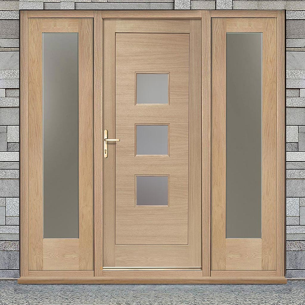 Turin Exterior Oak Door and Frame Set - Two Side Screens - Frosted Double Glazing