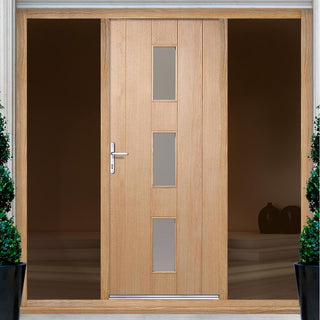 Image: Copenhagen Exterior Oak Door with Frosted Double Glazing and Frame Set with Two Unglazed Side Screens