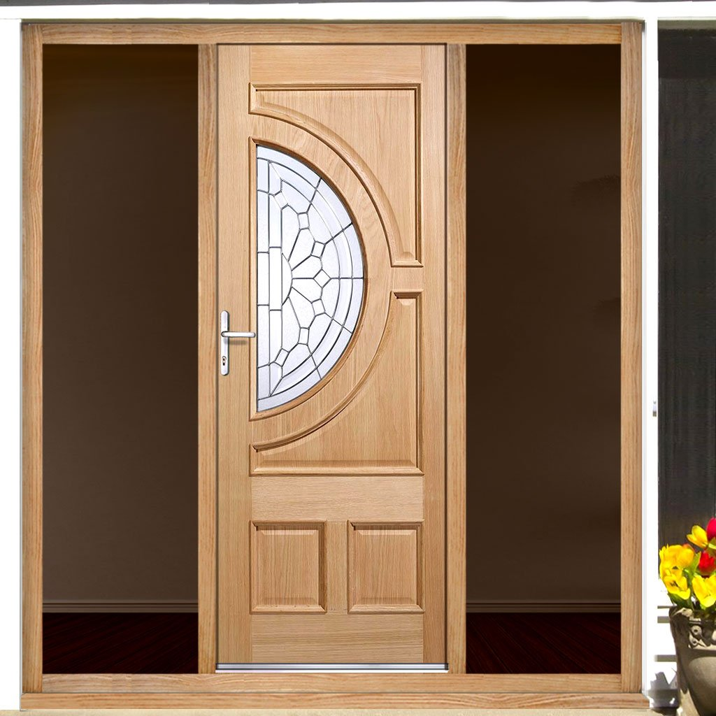 Empress Exterior Oak Door and Frame Set - Zinc Double Glazing - Two Unglazed Side Screens, From LPD Joinery
