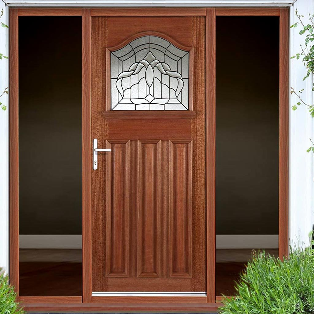 Estate Crown Exterior Hardwood Door and Frame Set - Lead Caming Double Glazing - Two Unglazed Side Screens, From LPD Joinery