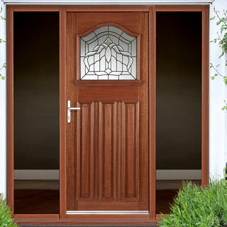 Image: Estate Crown Exterior Hardwood Door with Lead Caming Double Glazing and Frame Set with Two Unglazed Side Screens
