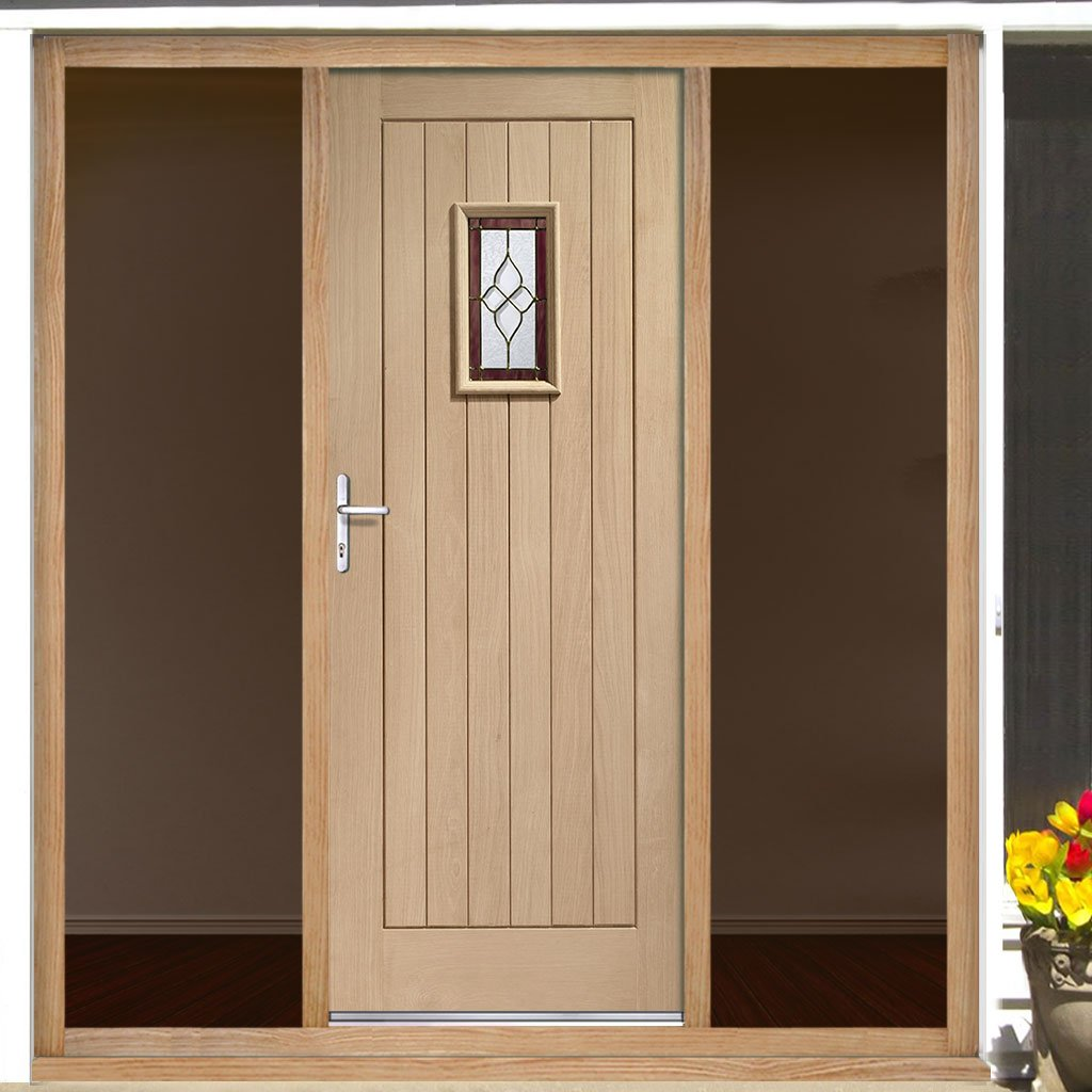 Chancery Exterior Onyx Oak Door including Tri Glazing and Frame with Two Unglazed Side Screens