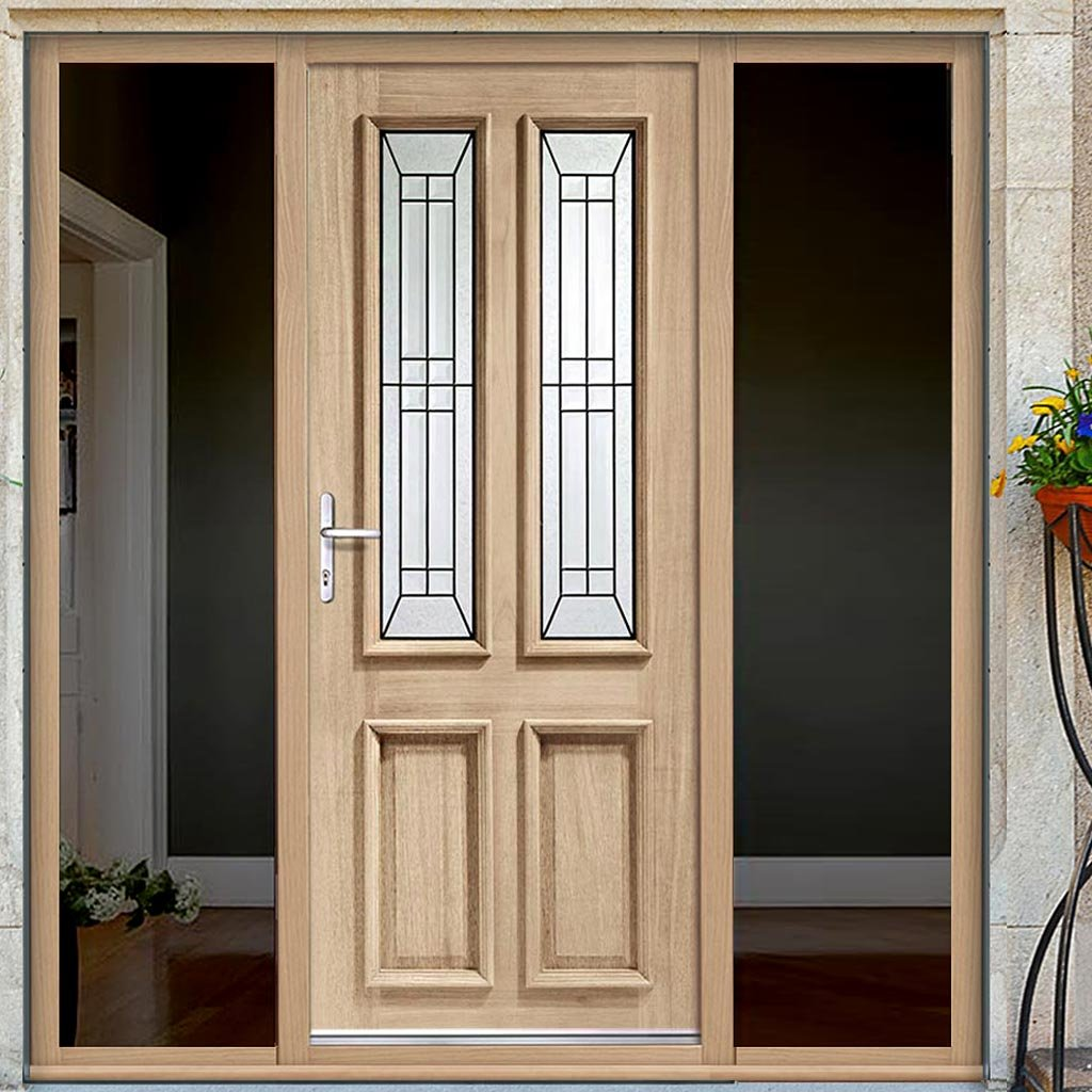 Malton Exterior Oak Door - Black Caming Tri Glazing and Frame - Two Unglazed Side Screens