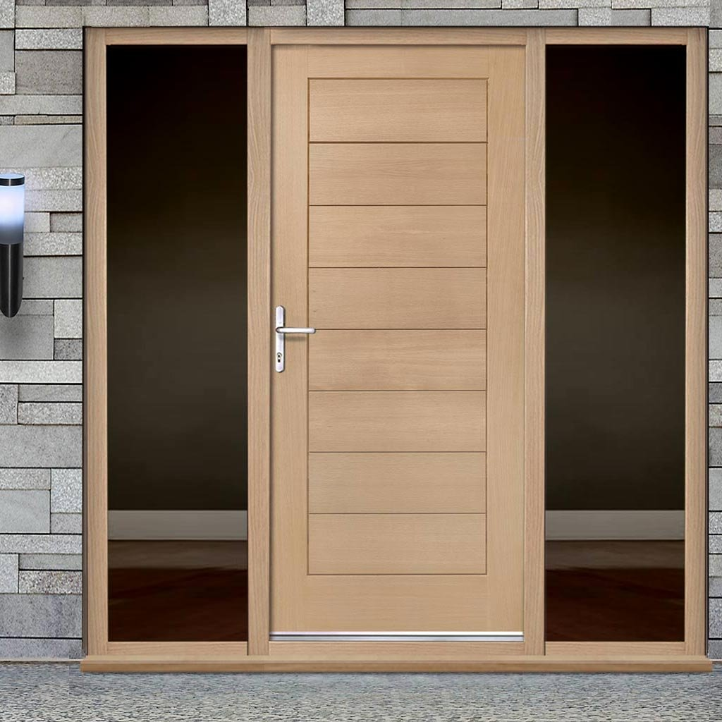 Modena Exterior Flush Oak Door and Frame Set - Two Unglazed Side Screen