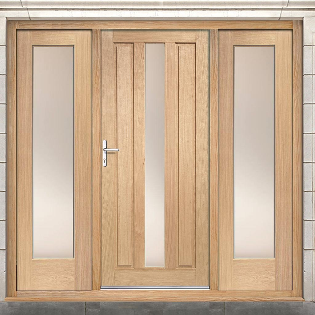Padova Exterior Oak Door and Frame Set - Two Side Screens - Frosted Double Glazing