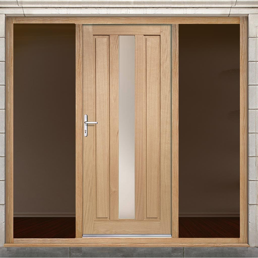 Padova Exterior Oak Door - Frosted Double Glazing and Frame Set - Two Unglazed Side Screens