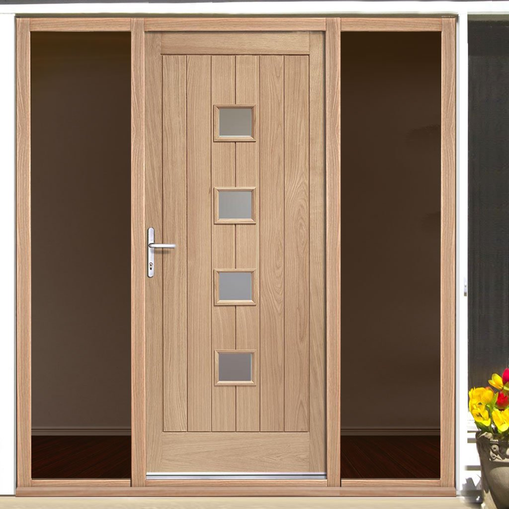 Siena Exterior Oak Door - Frosted Double Glazing and Frame Set - Two Unglazed Side Screens