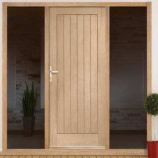 Image: Suffolk Flush Oak Door and Frame Set with Two Unglazed Side Screens