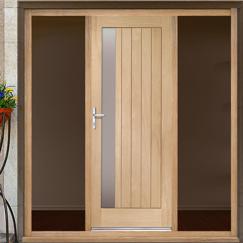 Trieste Exterior Oak Door - Frosted Double Glazing and Frame Set - Two Unglazed Side Screens