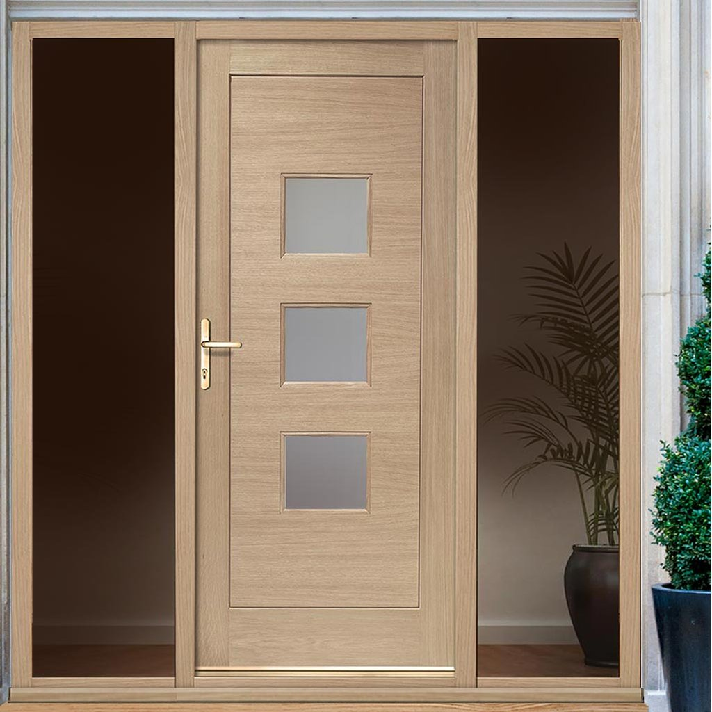 Turin Exterior Oak Door - Frosted Double Glazing and Frame Set - Two Unglazed Side Screen