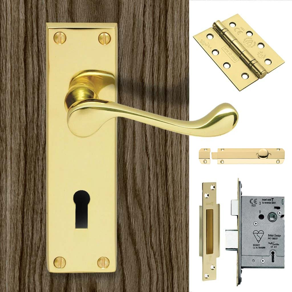 Double Door DL54 Victorian Scroll Suite Lever Lock Polished Brass - Combo Handle & Accessory Pack