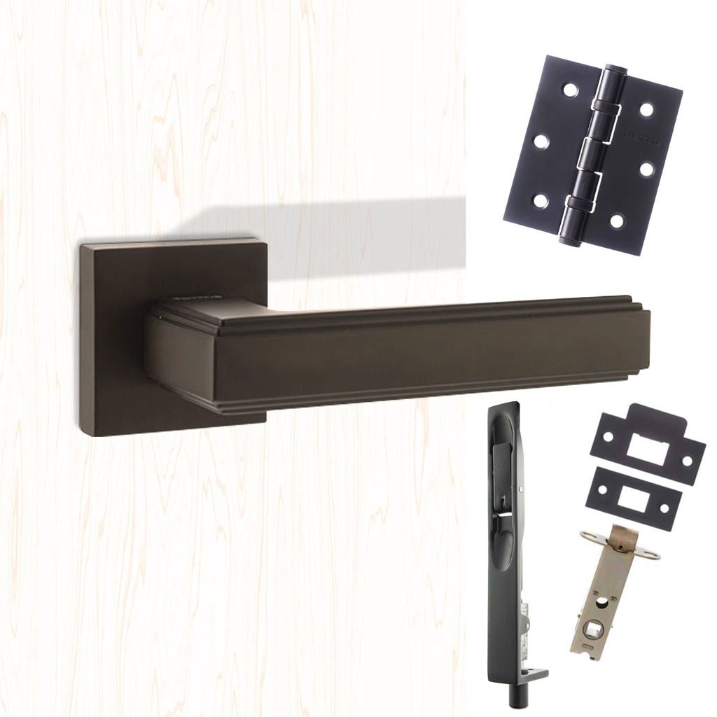 Rebated Double Door Pack Forme Alila Designer Lever on Minimal Square Rose Matt Black Combo Handle & Accessory Pack