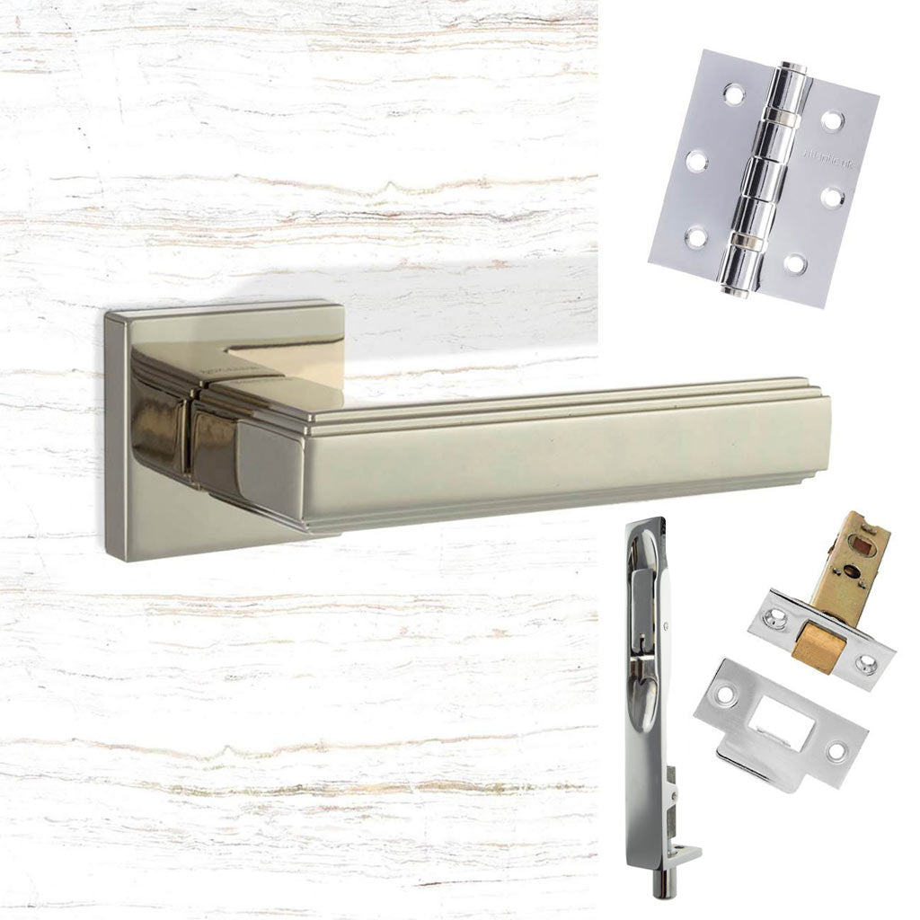 Double Door Pack Forme Alila Designer Lever on Minimal Square Rose Polished Nickel Combo Handle & Accessory Pack