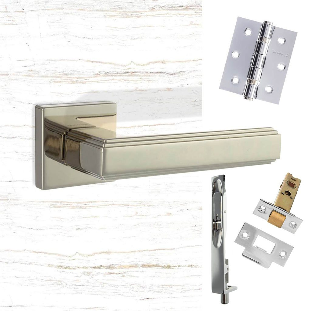 Rebated Double Door Pack Forme Alila Designer Lever on Minimal Square Rose Polished Nickel Combo Handle & Accessory Pack