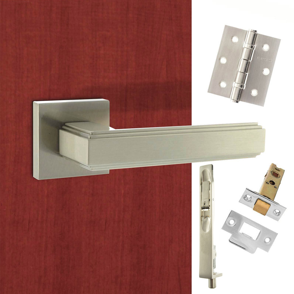Double Door Pack Forme Alila Designer Lever on Minimal Square Rose Satin Nickel Combo Handle & Accessory Pack