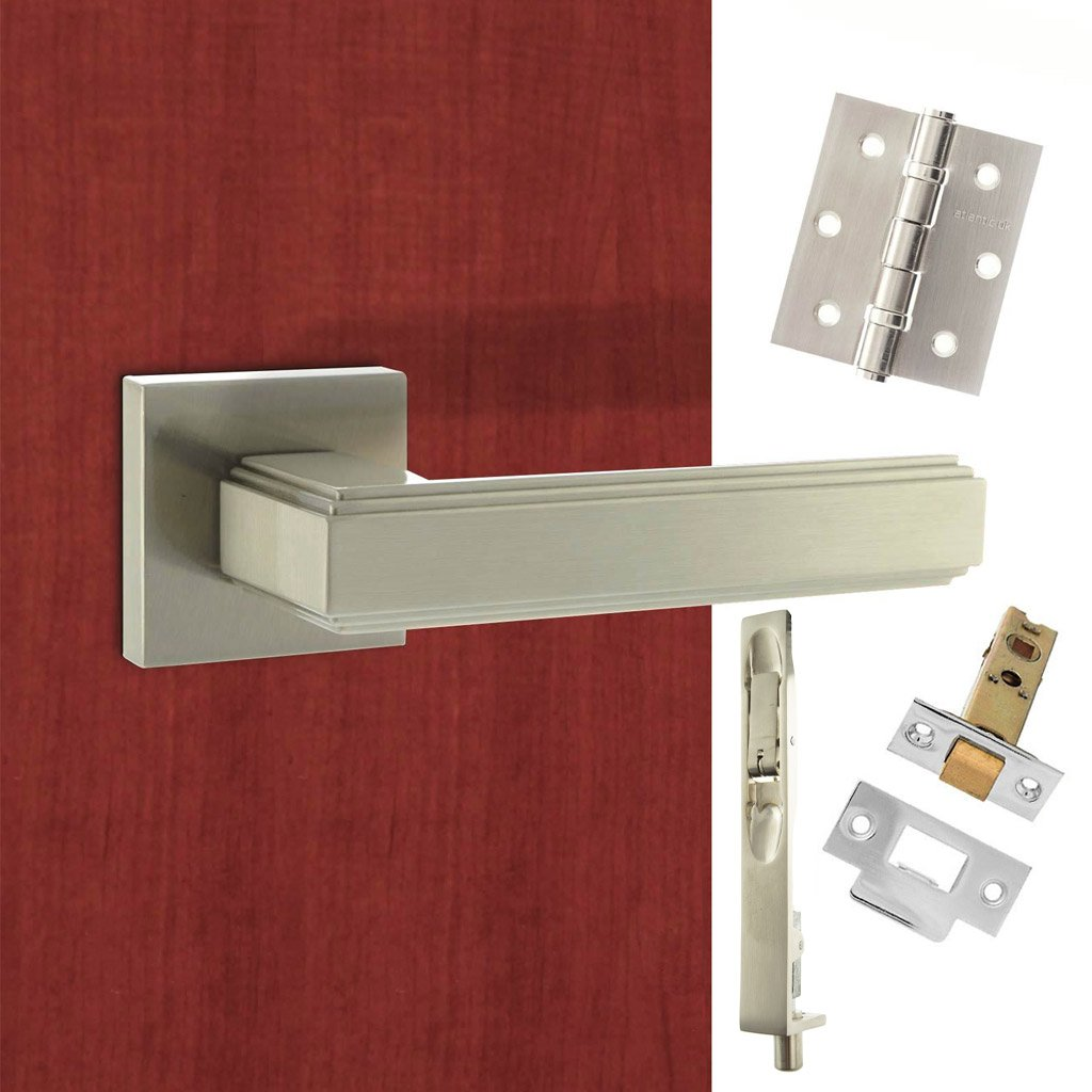 Rebated Double Door Pack Forme Alila Designer Lever on Minimal Square Rose Satin Nickel Combo Handle & Accessory Pack