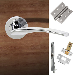 Image: Double Door Pack Arizona Status Lever on Round Rose Polished Chrome Combo Handle & Accessory Pack