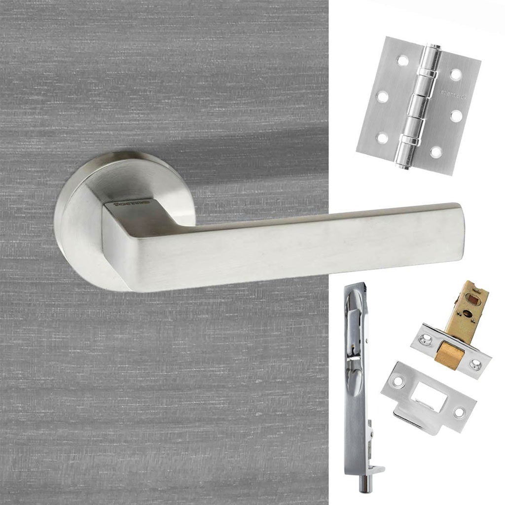 Double Door Pack Forme Asti Designer Lever on Minimal Round Rose Satin Chrome Combo Handle & Accessory Pack