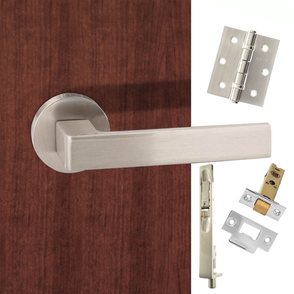 Double Door Pack Forme Asti Designer Lever on Minimal Round Rose Satin Nickel Combo Handle & Accessory Pack